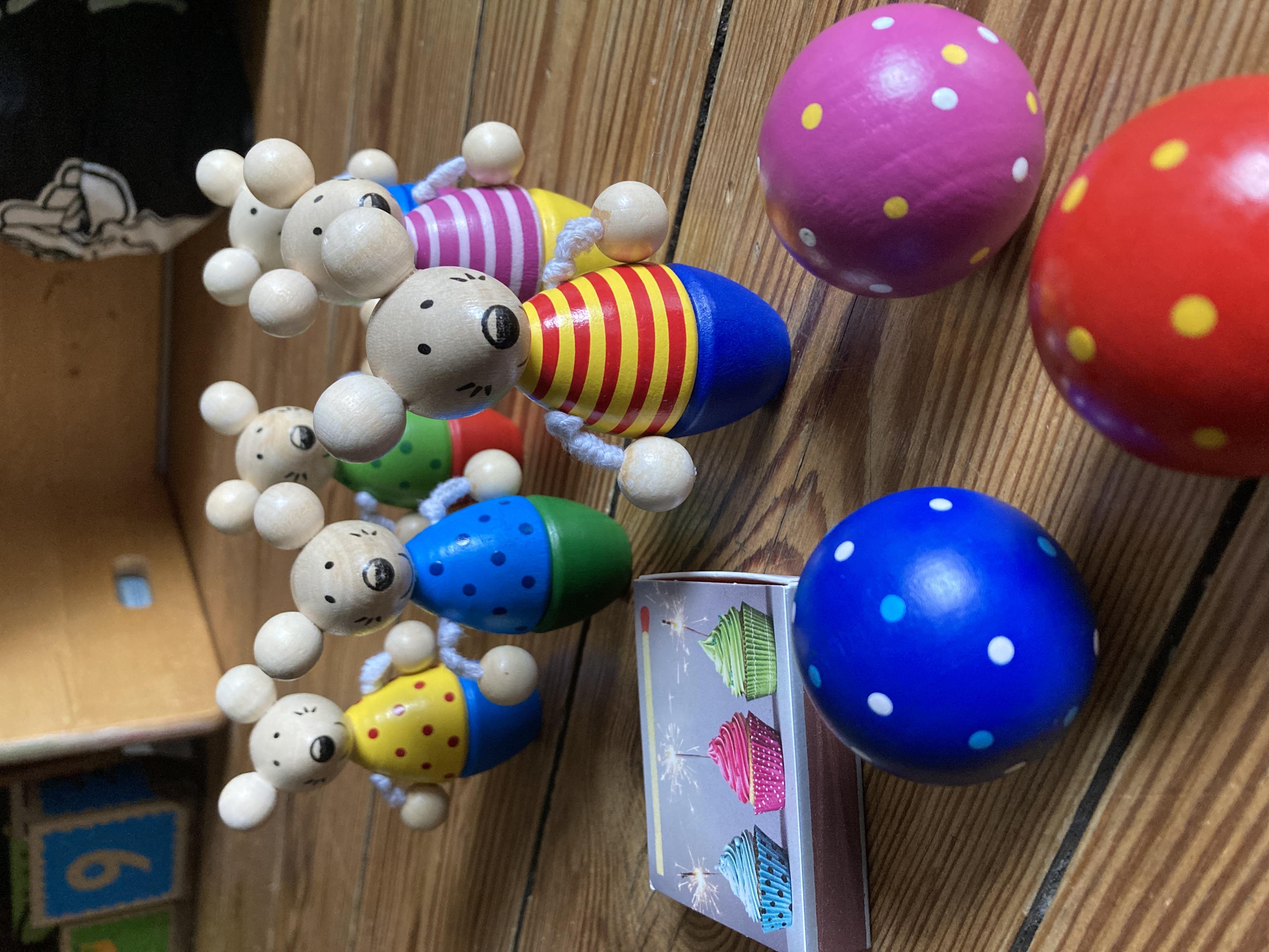 Kegelspiel Mäuse aus Holz kostenlos