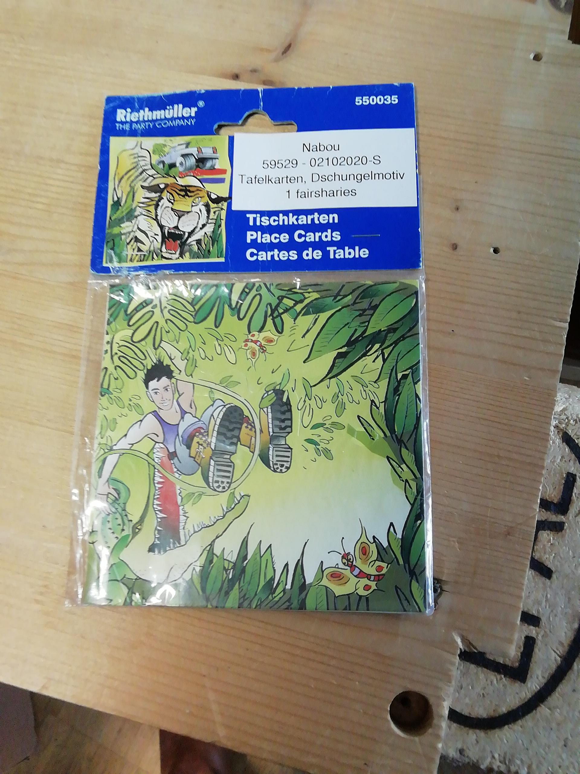 Tafelkarten, Dschungelmotiv tauschen