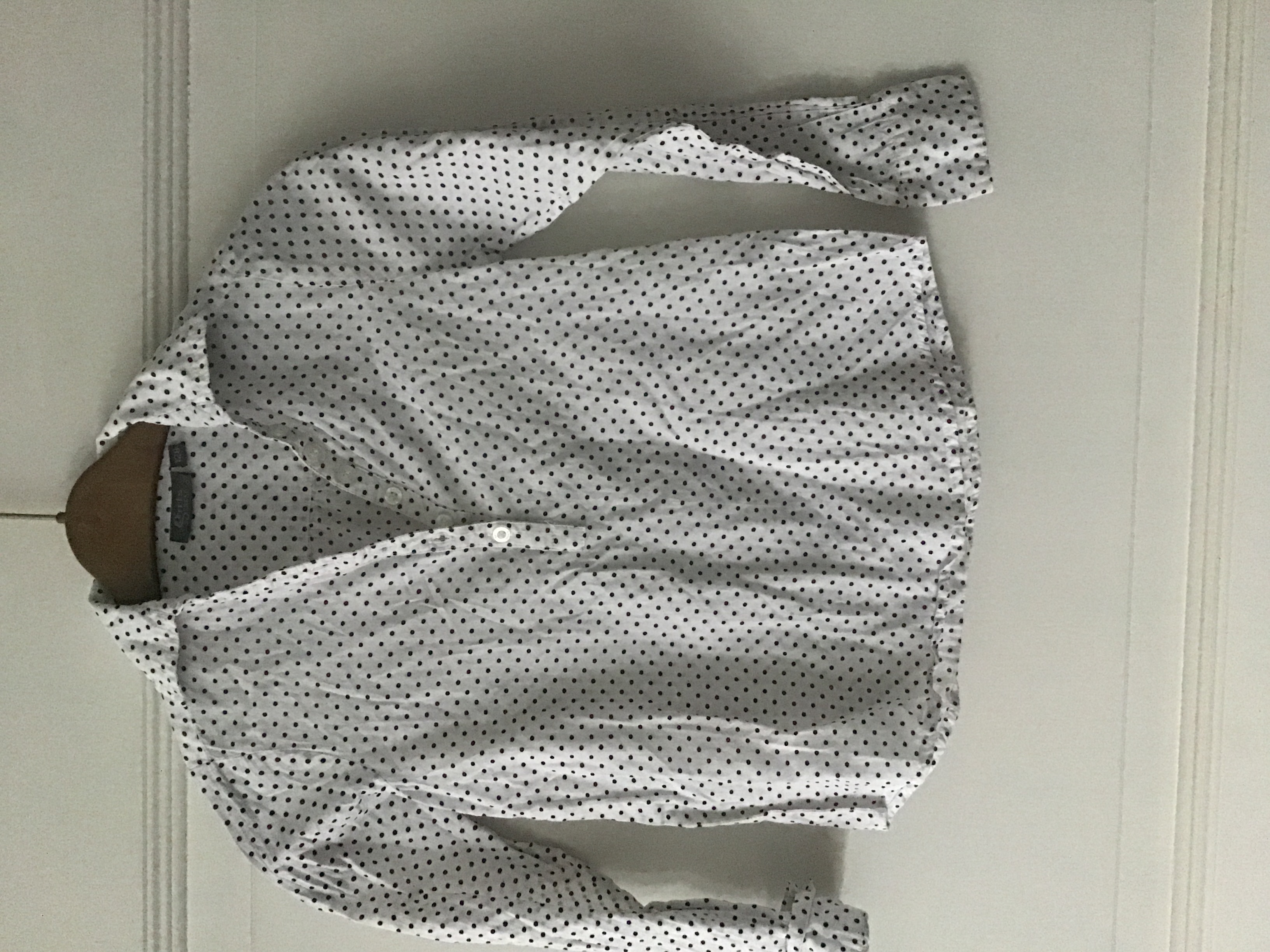 Bluse weiß gepunktet Größe 128 tauschen