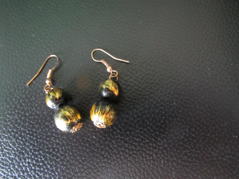 Ohrringe, grün-gold tauschen
