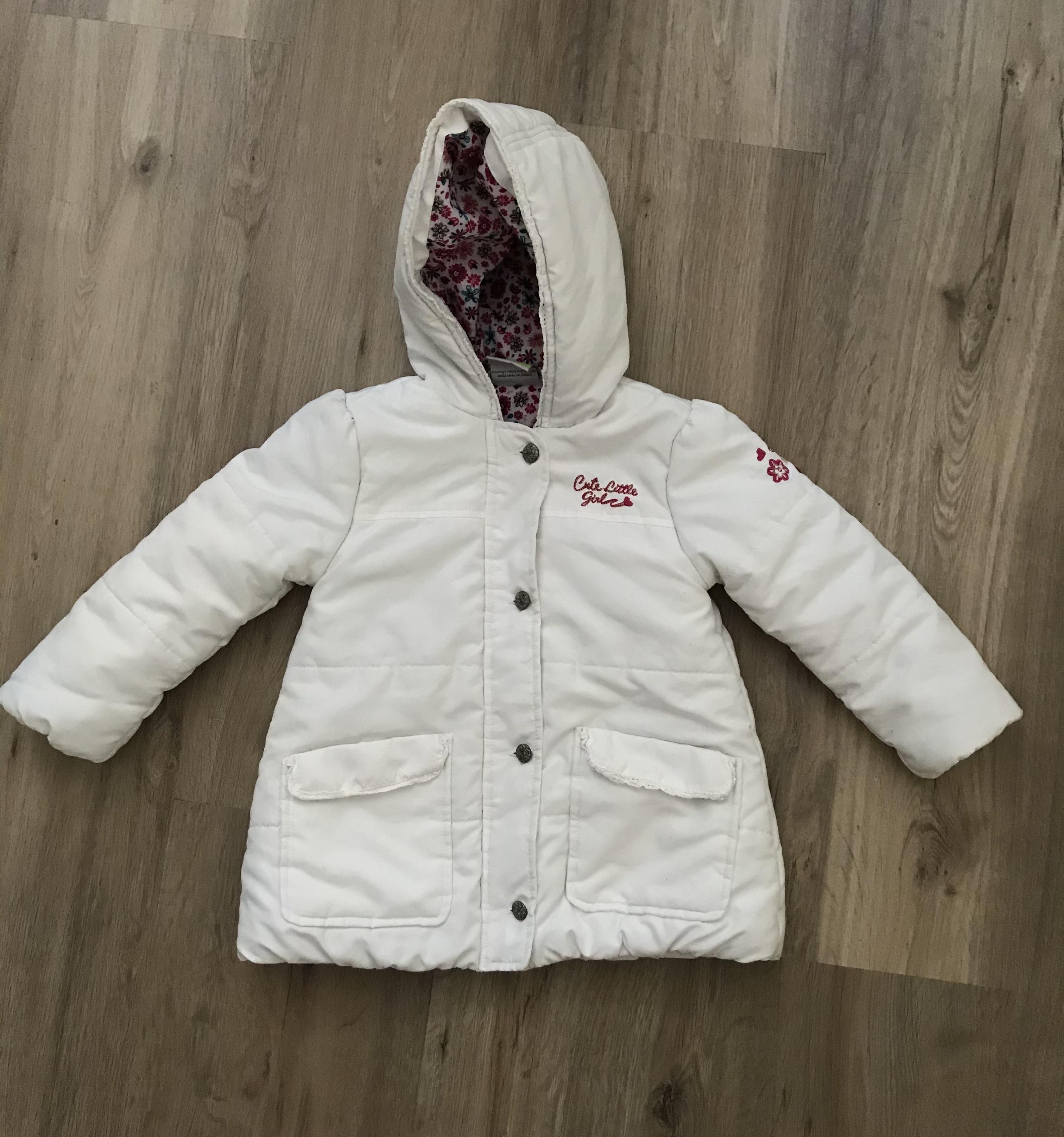 Süße weiße Frühjahrsjacke Gr. 92 tauschen